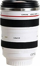 RXYYOS® Thermobecher Tasse Kaffeebecher im Kameraobjektiv Design EF 24-105mm Lens Mug Kamera Objektiv Becher Kaffeetasse mit Edelstahl isolierte für Kaffee, Tee, Kakao, Milch, Wasser, etc - Weiß