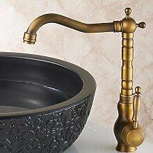 RY-Alle Kupfer antiken Küche Wasserhahn warmes und kaltes Waschbecken zu drehen.