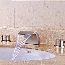 RY-Alle Kupfer Wasserfall LED Temperaturregelung Waschbecken Wasserhahn unter Waschtischmischer kalte und gebürstet, A2 Kupfer