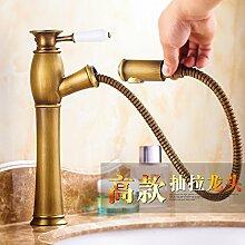 RY-Antike Kupfer heißes und kaltes Wasser plus hohe Becken ziehen Sie den Wasserhahn Tisch auf und ab das Becken Bad Waschbecken ziehen Schrumpfen Hahn, hoch