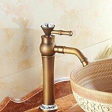 RY-Continental antiken Wasserhahn warmes und kaltes Sitzbank Basin gold Porzellan