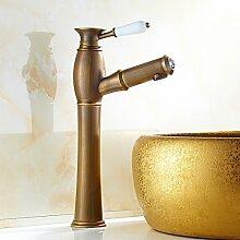 RY-Europäische antike Pull Hahn Waschbecken heiß und kalt Bühne Becken Topf Wasserhahn Retro Küche Wasserhahn, ein langer Abschni