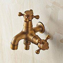RY-Europäische antike Wasserhahn Küche voll Kupfer heiß und kalt Wasser Retro Waschbecken Wasserhahn basincan gedreht werden
