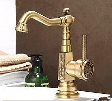 RY-Europäische Badezimmer Badezimmer Kupfer Becken unter dem Waschbecken Wasserhahn einzigen heißen und kalten Wasserbecken Wasserhahn, C