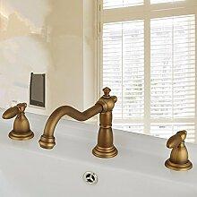 RY-Europäischen Stil Kupfer Drei-Loch-Becken Wasserhahn Waschbecken Wasserhahn heißen und kalten Split doppelte doppelte offene antike Hähne