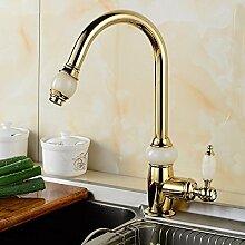 RY-European-style Kupfer-Gold-Pull-Typ Wasserhahn Bad Jade-Plattform unter den Waschbecken Warm und Kaltwasser Wasserhahn, Gold