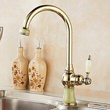 RY-Küche heißer und kalter Wasserhahn europäischen Jade Gold heiß und kalt Messing einzigen Loch einzigen Griff Roségold Waschbecken Wasserhahn, C