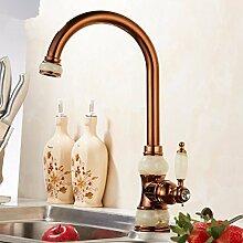 RY-Küche heißer und kalter Wasserhahn europäischen Jade Gold heiß und kalt Messing einzigen Loch einzigen Rose Rose Gold Waschbecken Wasserhahn, D