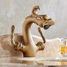 RY-Pure Kupfer Retro Waschbecken Wasserhahn Doppelte europäischen Stil heißen und kalten Wasserhahn Drachen Stil Kunst Bassin Wasserhahn, Abschnitt 2