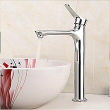 RY-Voller Kupferhahn Wasserhahn Bassin Wasserhahn Tisch Waschbecken Wasserhahn Silber - plattiert Wasserhahn heiß und kalt Wasser, A