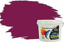 RyFo Colors Bunte Wandfarbe Manufakturweiß Deep Purple-Lila 3l - weitere Violett Farbtöne und Größen erhältlich, Deckkraft Klasse 1, Nassabrieb Klasse 1