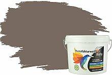 RyFo Colors Bunte Wandfarbe Manufakturweiß Fango 6l - weitere Braun Farbtöne und Größen erhältlich, Deckkraft Klasse 1, Nassabrieb Klasse 1
