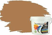 RyFo Colors Bunte Wandfarbe Manufakturweiß Nougat 6l - weitere Braun Farbtöne und Größen erhältlich, Deckkraft Klasse 1, Nassabrieb Klasse 1