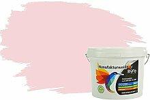 RyFo Colors Bunte Wandfarbe Manufakturweiß Pastellrosa 3l - weitere Violett Farbtöne und Größen erhältlich, Deckkraft Klasse 1, Nassabrieb Klasse 1