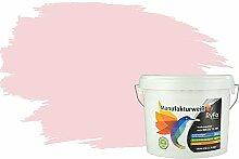 RyFo Colors Bunte Wandfarbe Manufakturweiß Pastellrosa 6l - weitere Violett Farbtöne und Größen erhältlich, Deckkraft Klasse 1, Nassabrieb Klasse 1