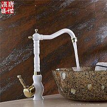 RYL Waschtischarmatur Wasserhahn Spültisch Küche Waschtisch Waschenbecken Bad Gegrillte weiße Porzellan Waschbecken Wasserhahn Bad Waschbecken Mischbatterien