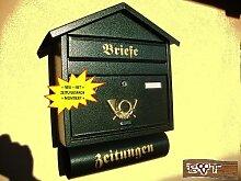 S Großer Briefkasten Spitzdach grün dunkelgrün