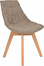 s-ideen 1 x Design Klassiker Sessel Wohnzimmer Küchenstuhl Esszimmerstuhl Barsessel Holz Stoff-Bezug Gepolstert Grau Braun Natur