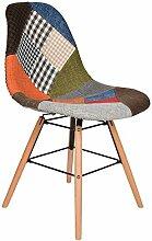s-ideen 1 x Design Patchwork Sessel Wohnzimmer Büro Stuhl Esszimmer Sitz Holz Stoff bun