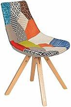 s-ideen 1 x Design Patchwork Sessel Wohnzimmer Küchen Stuhl Esszimmer Sitz Holz Stoff Flicken Bun