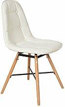 s-ideen 1 x Lounge Stuhl Design Klassiker Sessel Retro 50er Jahre Barstuhl Küchenstuhl Esszimmerstuhl Kunstleder Sitz in Weiß Holz Buche