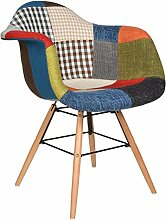 s-ideen 1x Design Patchwork Sessel Wohnzimmer Büro Stuhl Esszimmer Sitz Holz Stoff bun