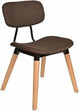 s-ideen 1x Design Polster Stuhl Sessel Esszimmer Wohnzimmer Sitz Metall Holz Stoffbezug Braun