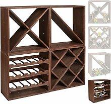 s-ideen 1x Weinregal Cube dunkelbraun 15 Flaschen