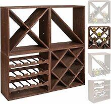 s-ideen 1x Weinregal Cube dunkelbraun 16 Flaschen