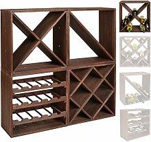 s-ideen 1x Weinregal Cube dunkelbraun 24 Flaschen