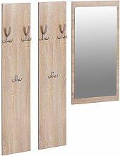 s-ideen 3er Set Garderobe Spiegel + 2 Wandpaneele