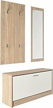 s-ideen 3er Set Wand-Garderobe Wand-Spiegel
