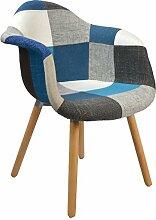s-ideen Design Klassiker Patchwork Sessel Retro 50er Jahre Barstuhl Wohnzimmer Büro Küchen Stuhl Esszimmer Sitz Holz Stoff bunt blau