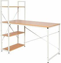 s-ideen Holz Schreibtisch Büro Computer Arbeitstisch Regal MDF Metallgestell Weiß