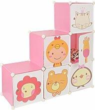 s-ideen Kinder Regal Schrank Steckregal Regalsystem Sideboard Spielzeugkiste in Rosa mit süßen Motivbildern