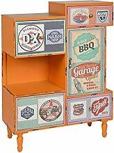 s-ideen Kommode Regal Schrank Minibar Ablage Vintage Antik Industrie Design Used Style Holz Orange mit 4 bunten Schubladen Fach und Tür
