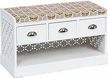 s-ideen Landhaus Flurbank mit Schubladen Retro Schuhbank Schuhschrank Kommode Sitzbank für Bad Flur Diele Standregal in weiß mit Sitzauflage