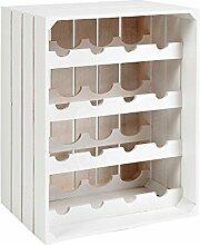 s-ideen Landhaus Weinregal Weiß für 16 Flaschen