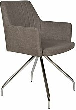 s-ideen Lounge Design Sessel Barsessel Clubsessel Metall Stoff in Grau Esstisch-Stuhl