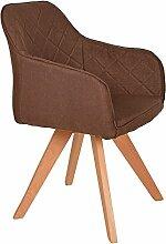 s-ideen Lounge Design Sessel Barsessel Clubsessel Stoff in Braun Esstisch-Stuhl Füße aus Buchenholz