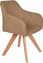 s-ideen Lounge Design Sessel Barsessel Clubsessel Stoff in Hell-Braun Esstisch-Stuhl Füße aus Buchenholz