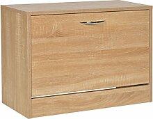 s-ideen Schuhregal Schuhschrank Bad Flur Diele Sitzbank Eiche Holz Optik Sitzbank 45 x 63 cm