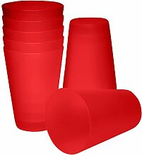 S&S-Shop 20 Plastik Trinkbecher 0,4 l - rot -