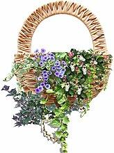 S-tubit Blumenampel Wand montiert Rattan Geflochten Blumentopf Dekoratives Pflanzgefäß Vase Decor Indoor Outdoor Bewässerung Hängekorb