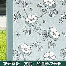 S.Twl.E 3 Dfrosted Fenster film Bad Fensteraufkleber geprägte Glasschiebetür Glas Sonnenschutz Fenster Sticker Blumen reich sind 60 cm W2M