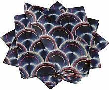 S4Sassy Blau Damast Shibori Esstisch Leinen