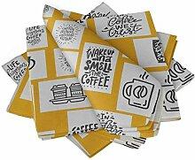 S4Sassy Gold Kaffee Bitte Text Esstisch Leinen