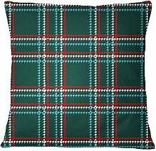 S4Sassy Grün Kissenbezug überprüfen Druck-Quadrat-Kissenbezug Bett Kopfkissenbezug Home Decor-24 x 24 Inches