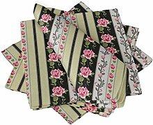 S4Sassy Schwarz Streifen, Blätter & Rose Blumen-