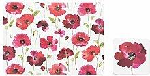 Sabichi Poppy Tisch-Sets und Untersetzer-Set, Kork, rot, 2,2x 39,5x 20cm